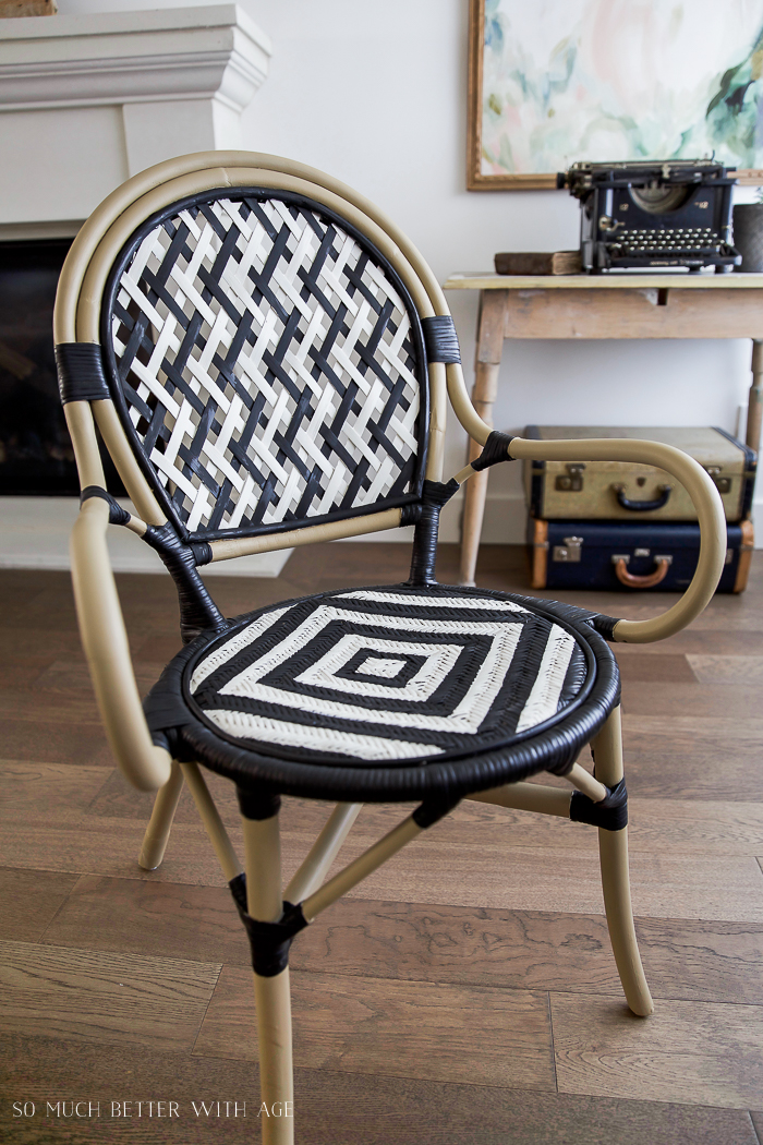 DIY French Bistro Chair/ black, white, bamboo looking ikea chair - So Much Better With Age #frenchdecor #frenchvintage