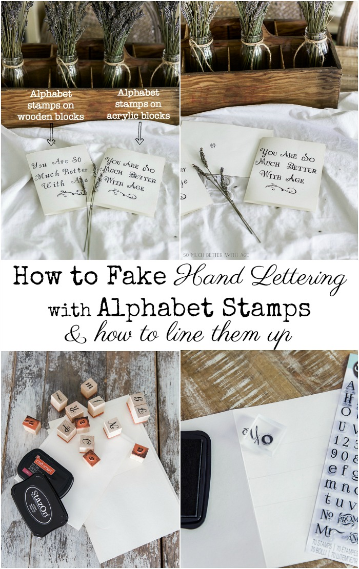 How to Fake Hand Lettering with Alphabet Stamps & how to line them up - So Much Better With Age #frenchdecor #frenchvintage #handlettering #rubberstamps #alphabetstamps