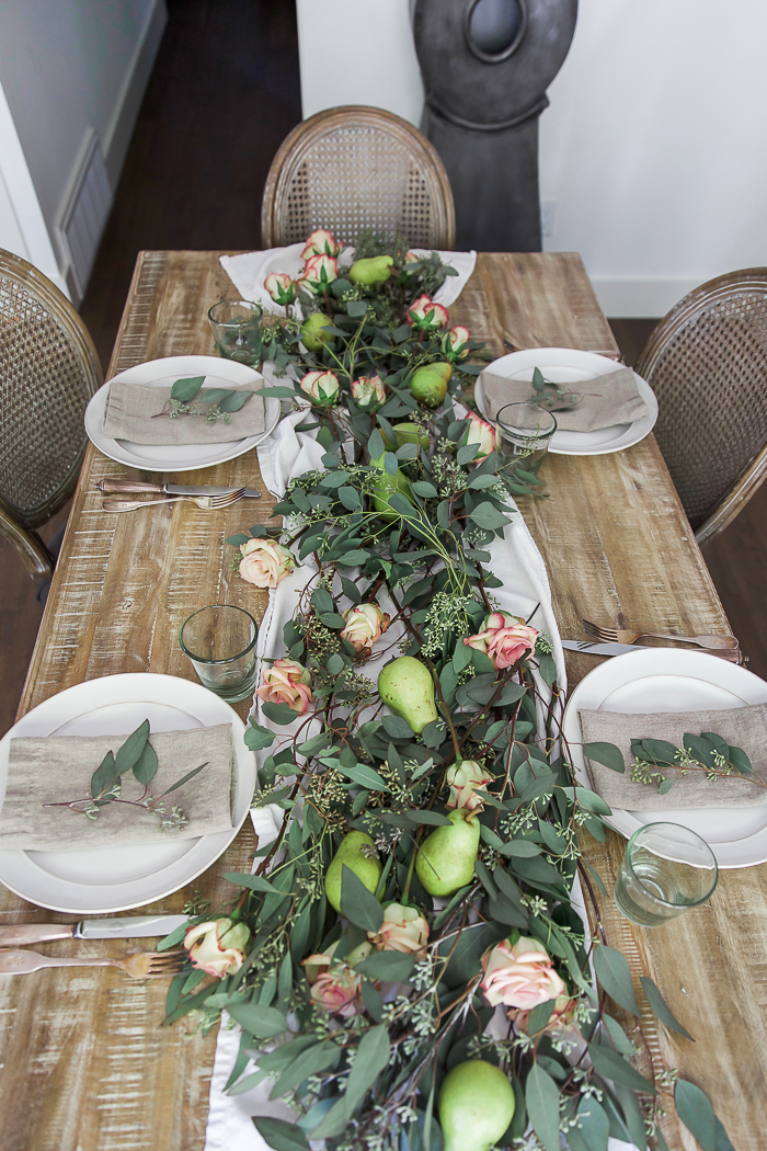 Seeded eucalyptus and pear table runner centrepiece - So Much Better With Age