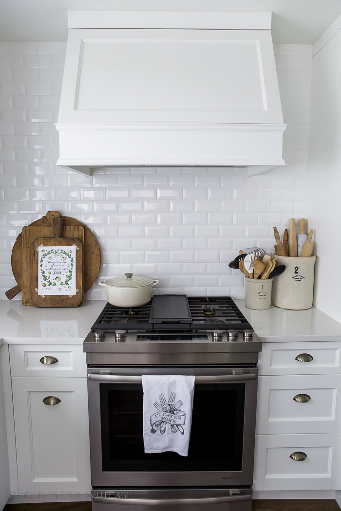Fresh and French Fall Kitchen Tour/ white kitchen, wood cutting boards - So Much Better With Age