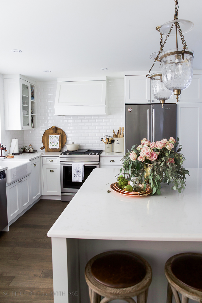 Fresh and French Fall Kitchen Tour/roses, eucalyptus, copper platters - So Much Better With Age