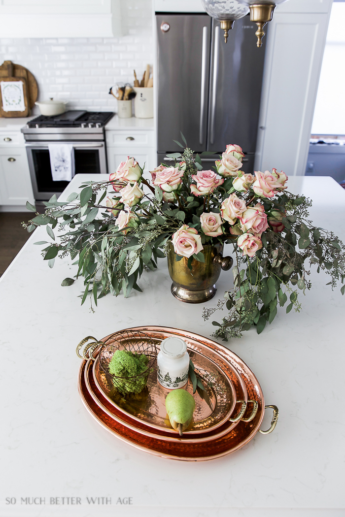 Fresh and French Fall Kitchen Tour/eucalyptus, copper platters - So Much Better With Age