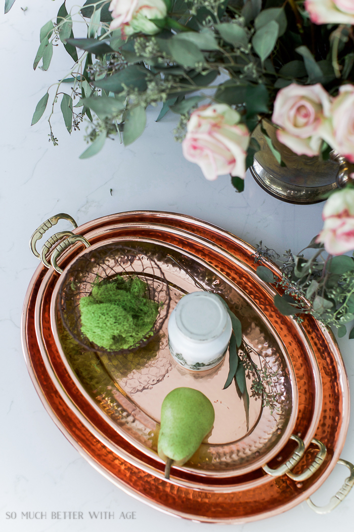Fresh and French Fall Kitchen Tour/ copper platters, eucalyptus, roses - So Much Better With Age