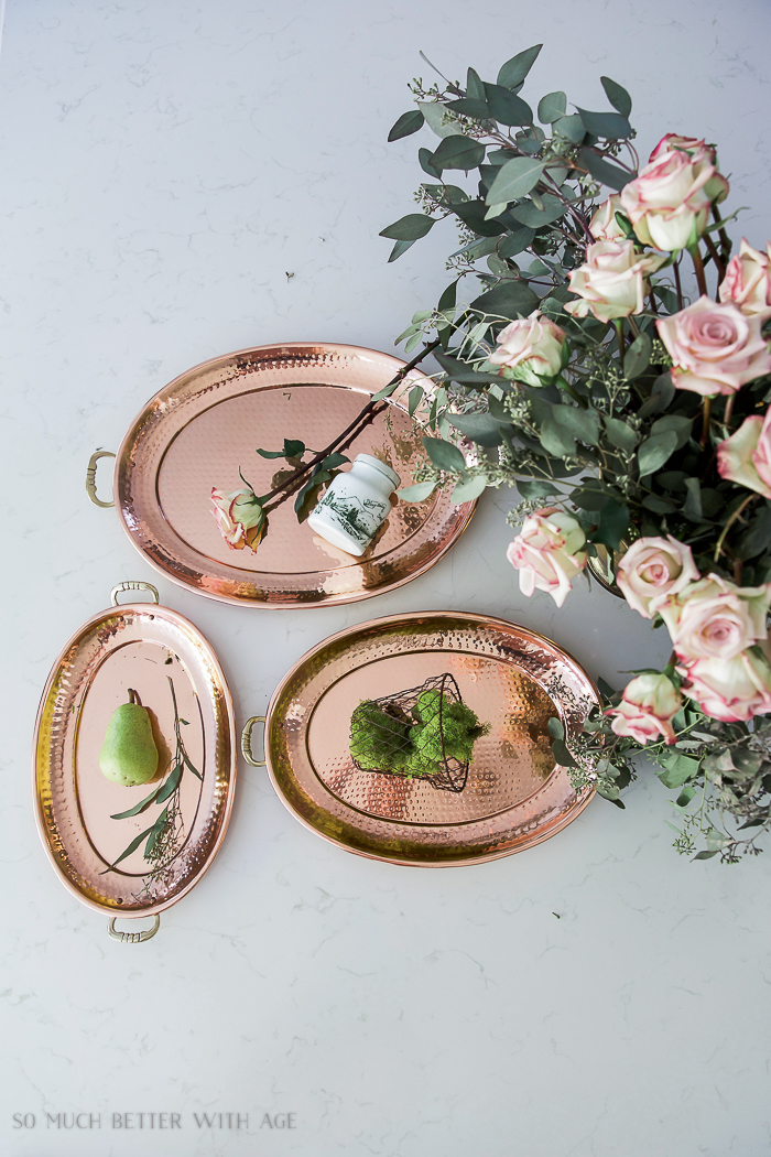 Fresh and French Fall Kitchen Tour/copper nesting platters, eucalyptus, roses - So Much Better With Age