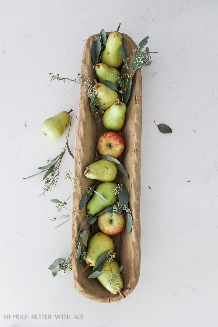 Fresh and French Fall Kitchen Tour/French baguette basket, pears, eucalyptus - So Much Better With Age