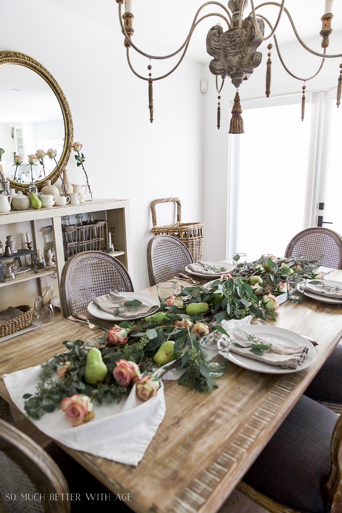 So Much Better With Age - Eucalyptus, Pears and Roses Table Runner Centrepiece