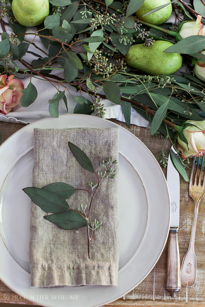 Complete Kitchen Supply List/beautiful tablescape with pears and greenery- So Much Better With Age
