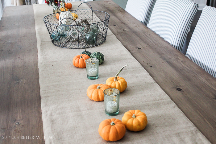 All My Fall Posts 2011-2017/ mini pumpkins, burlap runner- So Much Better With Age