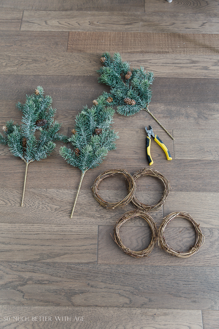 DIY Evergreen Wreaths with Fabric Banners/grapevine wreaths - So Much Better With Age