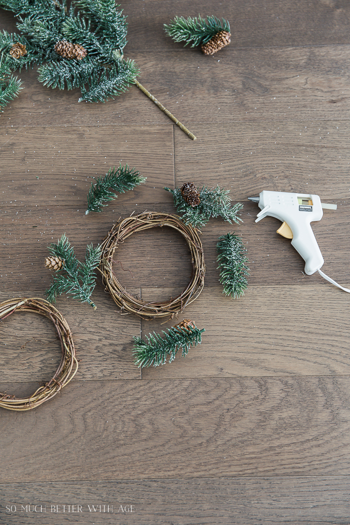 DIY Evergreen Wreaths with Fabric Banners/evergreen sprigs - So Much Better With Age