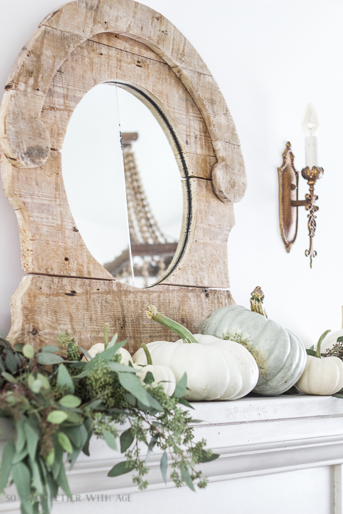 Antiquing a Mirror/rustic mirror, eucalyptus and pumpkins - So Much Better With Age