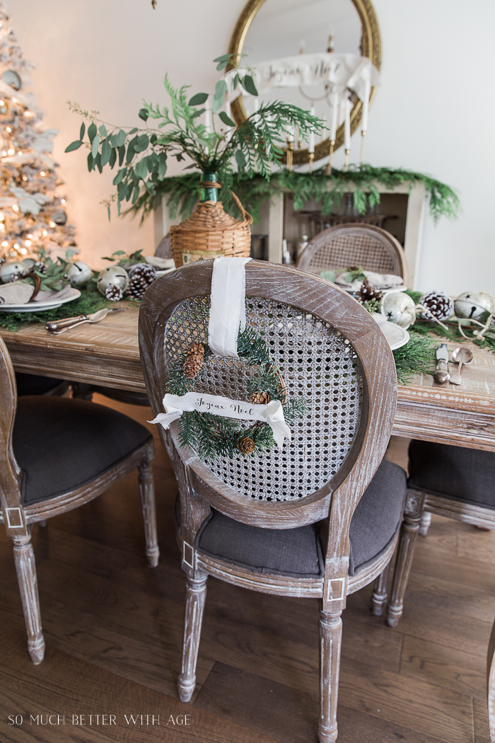 DIY Evergreen Wreaths with Fabric Banners/ French dining chairs - So Much Better With Age