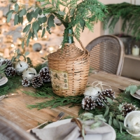 French Christmas Dining Room with Evergreen, Pinecones and Banners