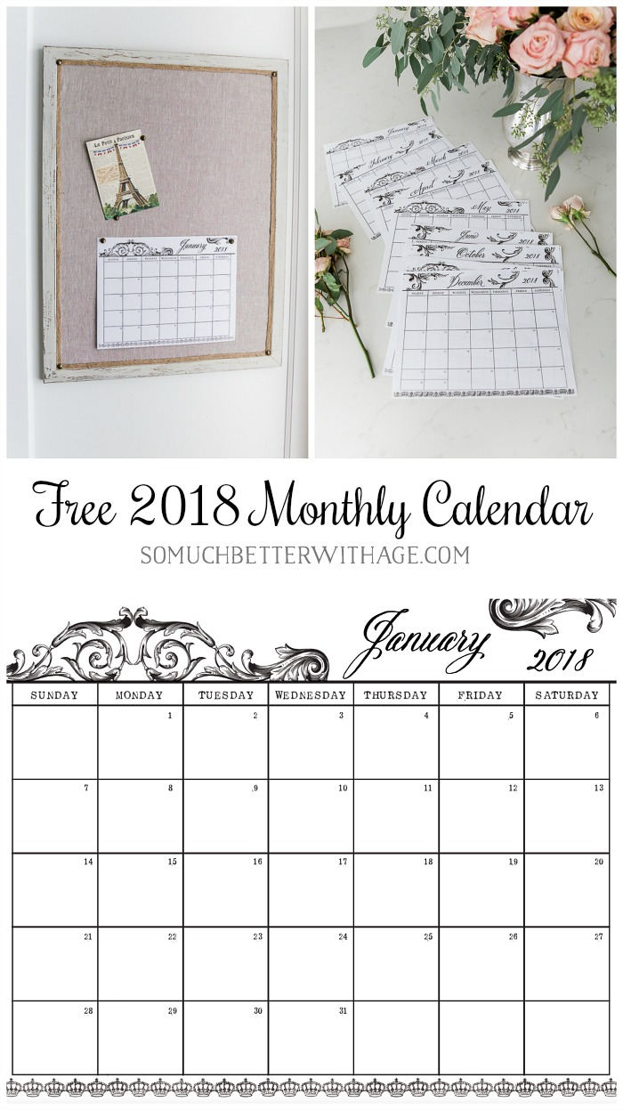 Free 2018 Monthly Calendar Printable in French Vintage Design | So ...