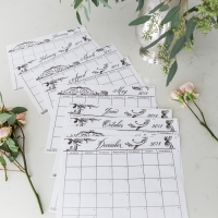 Free 2018 Monthly Calendar Printable in French Vintage Design