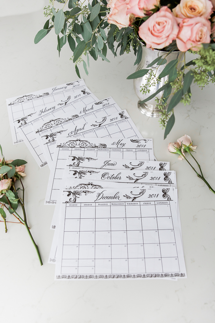 free 2018 monthly calendar printable in french vintage designroses eucalyptus so much
