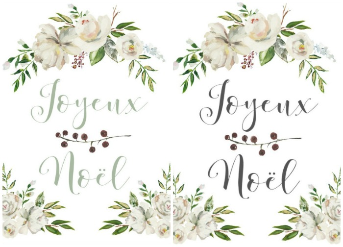 Joyeux Noel Printable in grey or green printable.