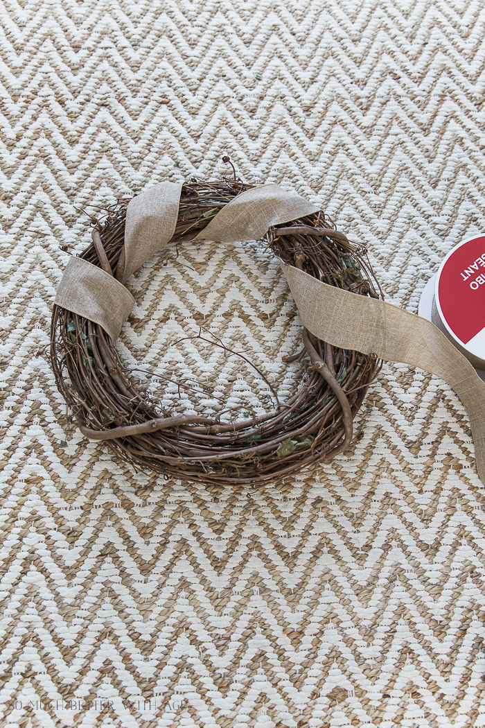 Easy and Beautiful Grapevine Wreath/wrap ribbon around wreath - So Much Better With Age