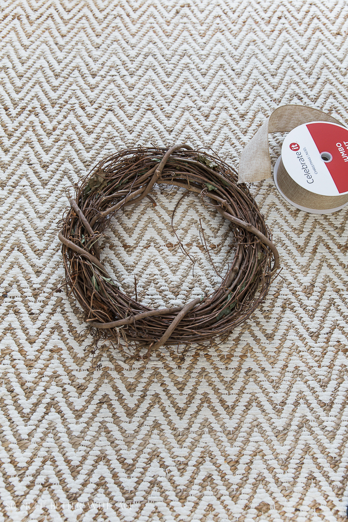 Easy and Beautiful Grapevine Wreath/burlap ribbon - So Much Better With Age