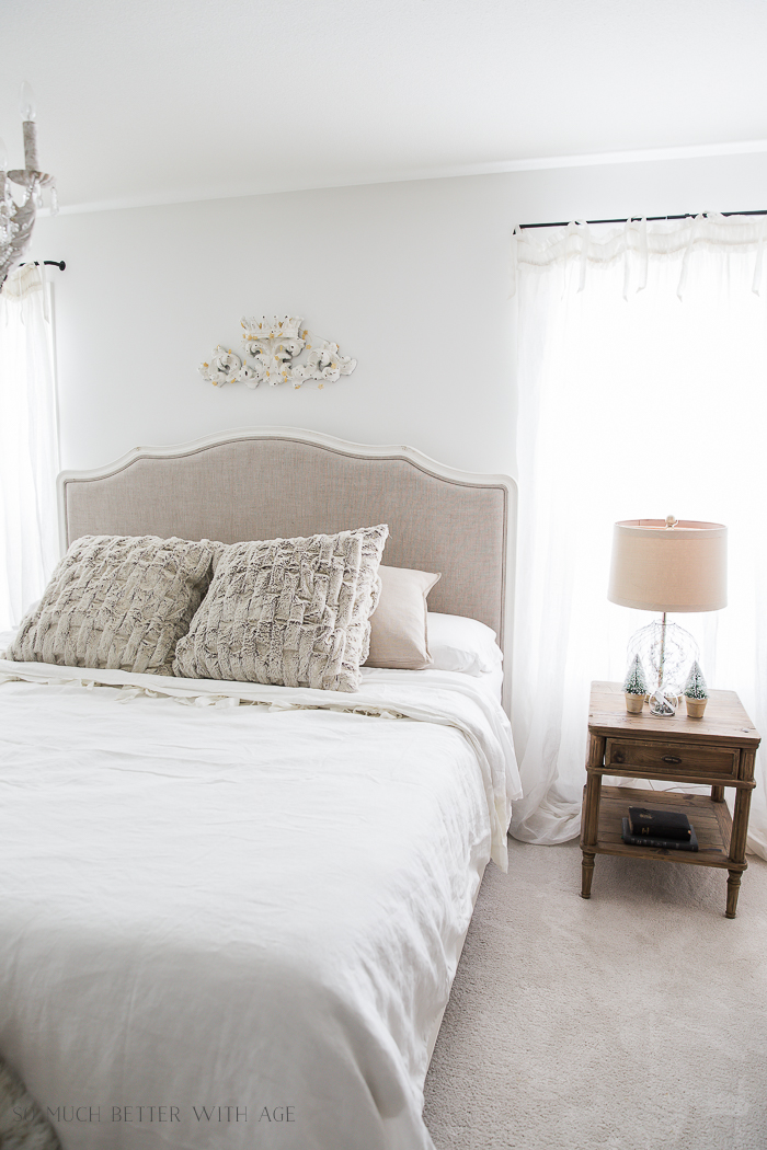 French Master Bedroom Christmas Tour/upholstered linen bed - So Much Better With Age