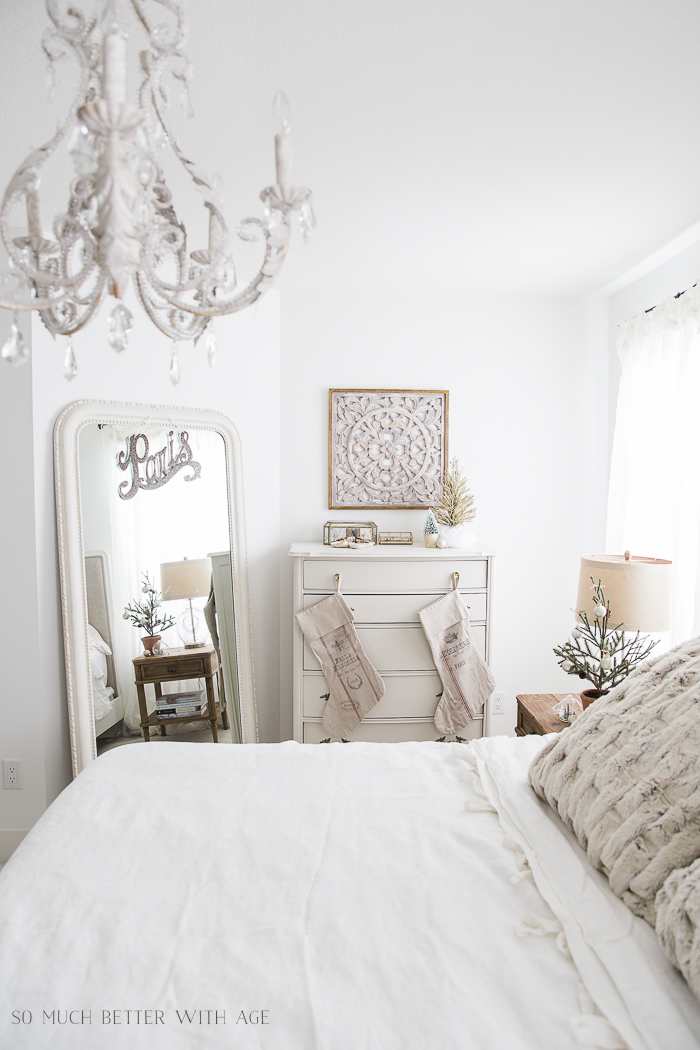 French Master Bedroom Christmas Tour/white chandelier - So Much Better With Age