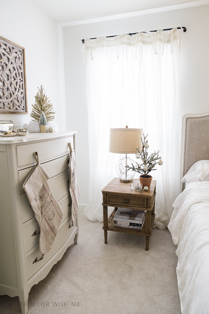 French Master Bedroom Christmas Tour/ wooden night stands- So Much Better With Age