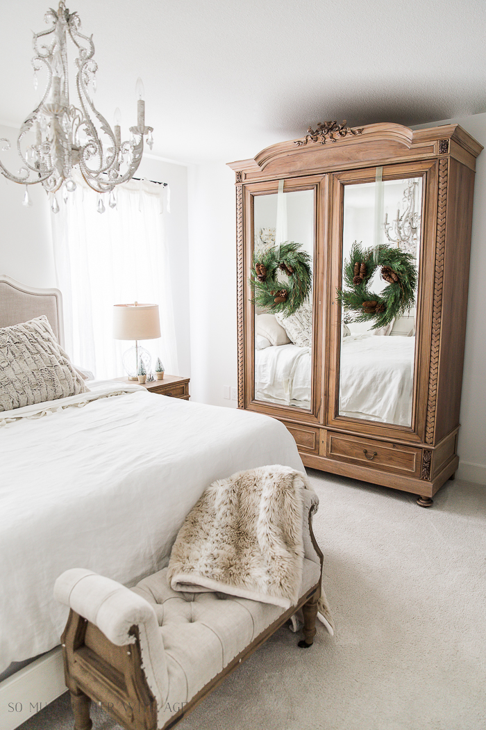 French Master Bedroom Christmas Tour/wooden armoire - So Much Better With Age