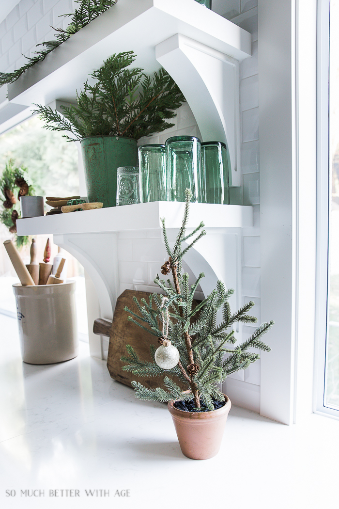 French Vintage Kitchen Christmas Tour/green glassware, Christmas tree, rolling pins - So Much Better With Age