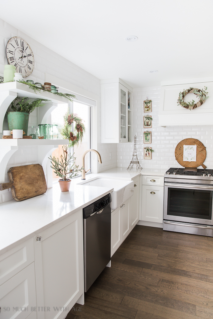 French Vintage Kitchen Christmas Tour/ White open kitchen - So Much Better With Age