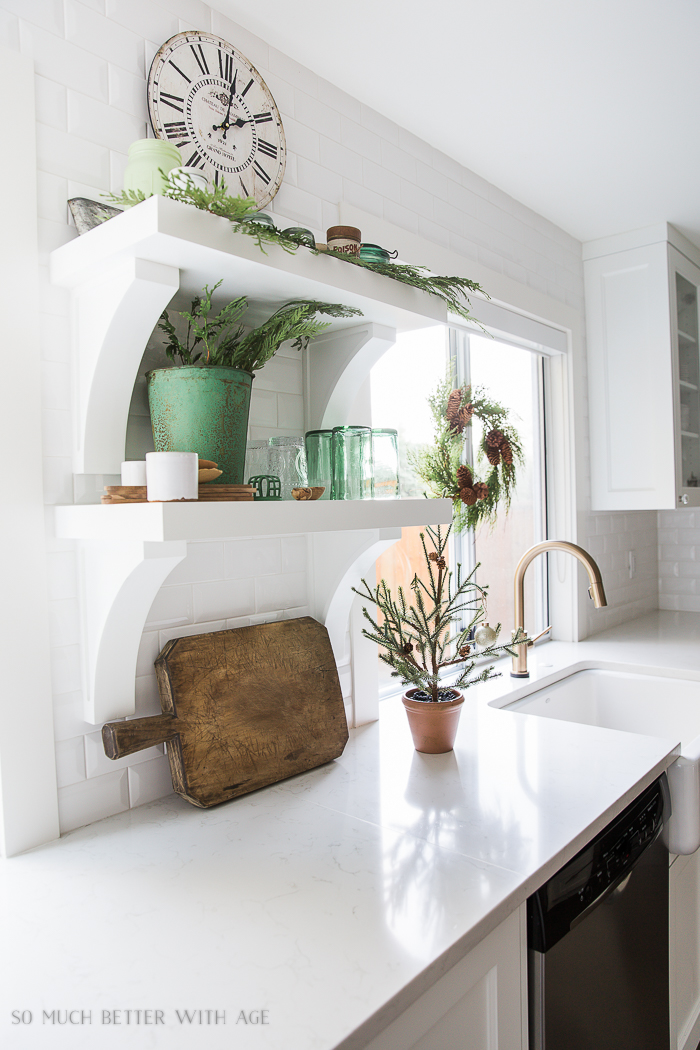 French Vintage Kitchen Christmas Tour/ French bread board, cedar branches, white and green - So Much Better With Age