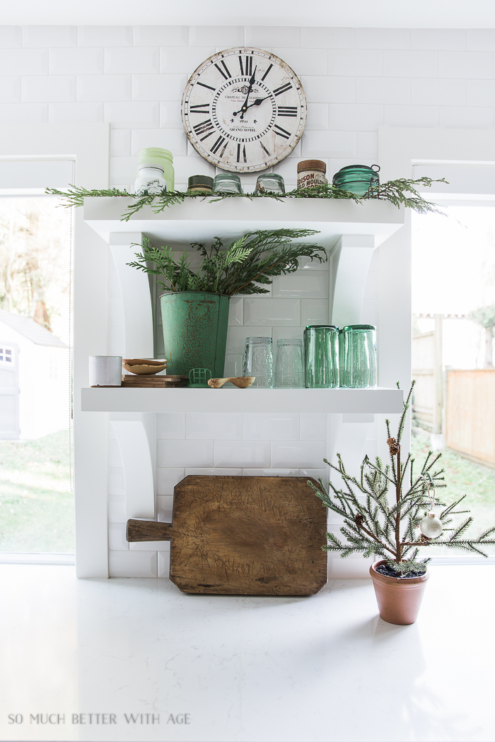 French Vintage Kitchen Christmas Tour/green glassware, French bread board, Christmas tree - So Much Better With Age