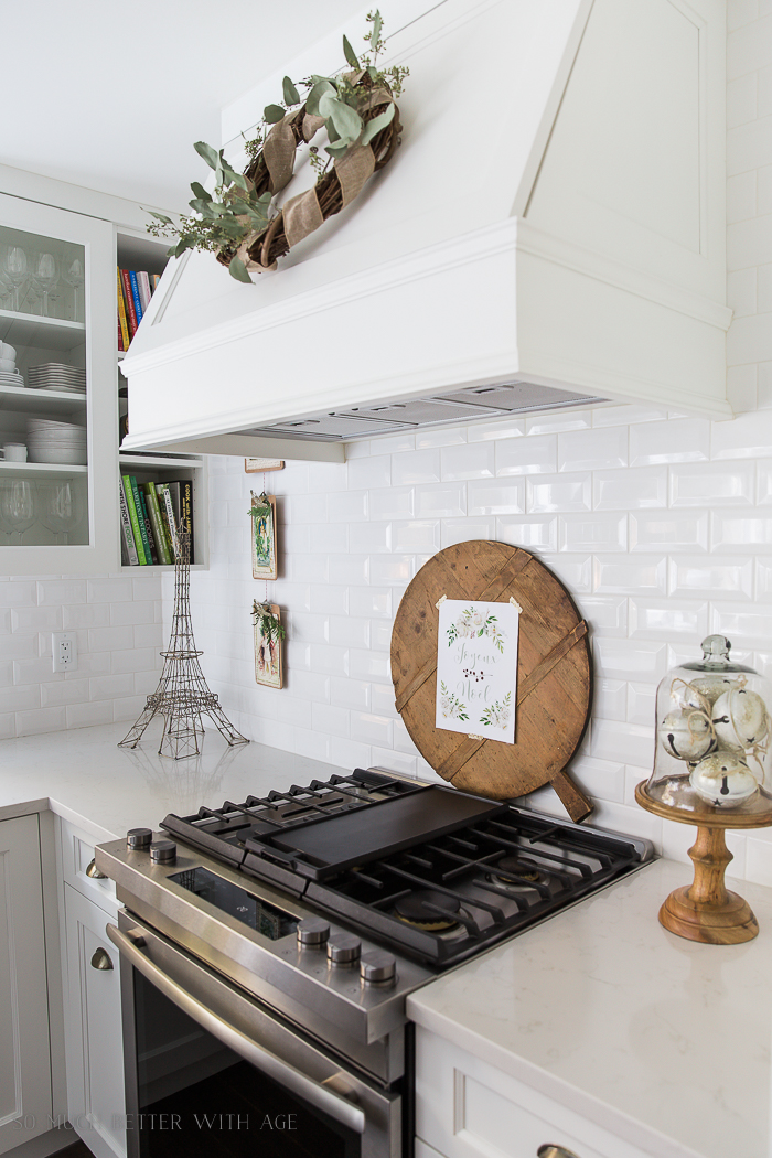 French Vintage Kitchen Christmas Tour/wreath on range hood, French cutting board - So Much Better With Age