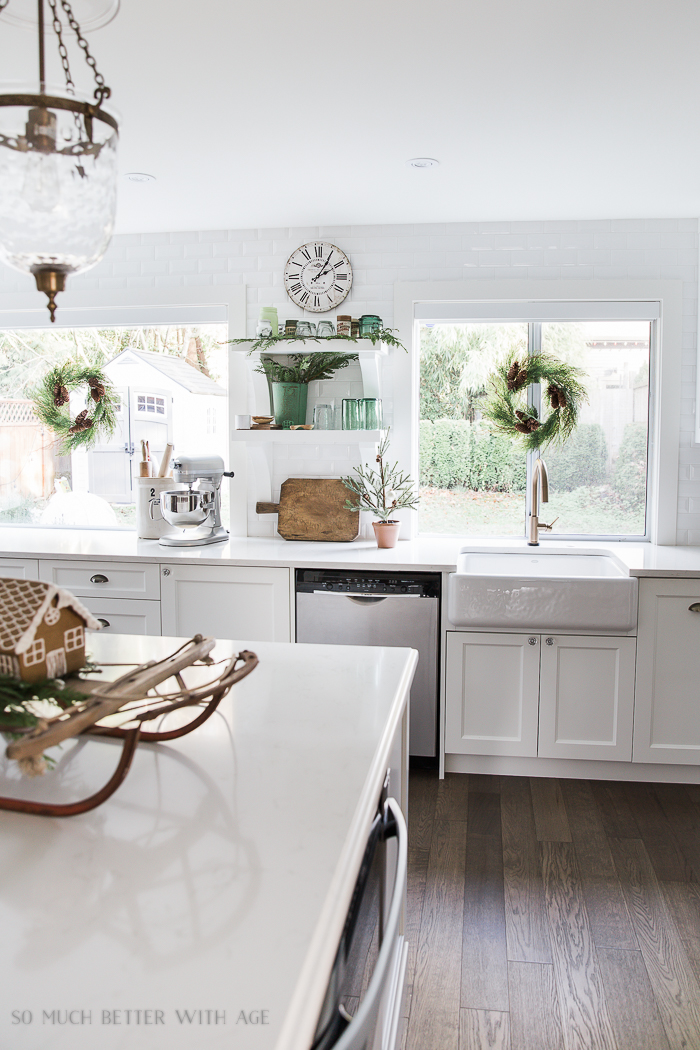 French Vintage Kitchen Christmas Tour/wreaths on windows, white kitchen - So Much Better With Age