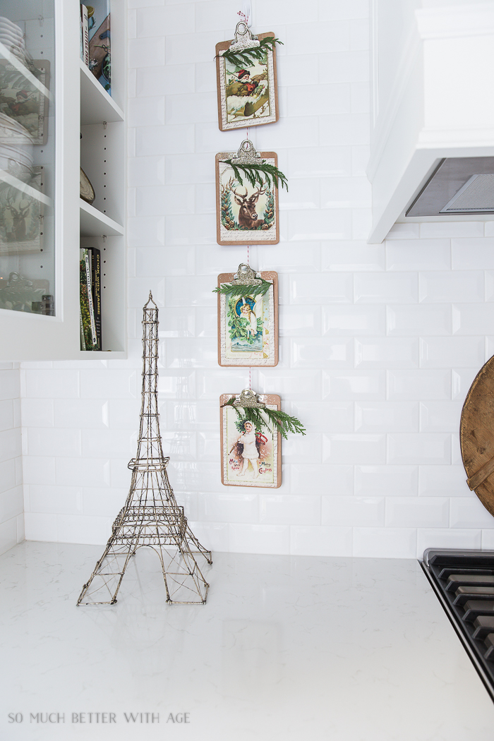 French Vintage Kitchen Christmas Tour/ Eiffel tower, Christmas postcards on clipboards - So Much Better With Age