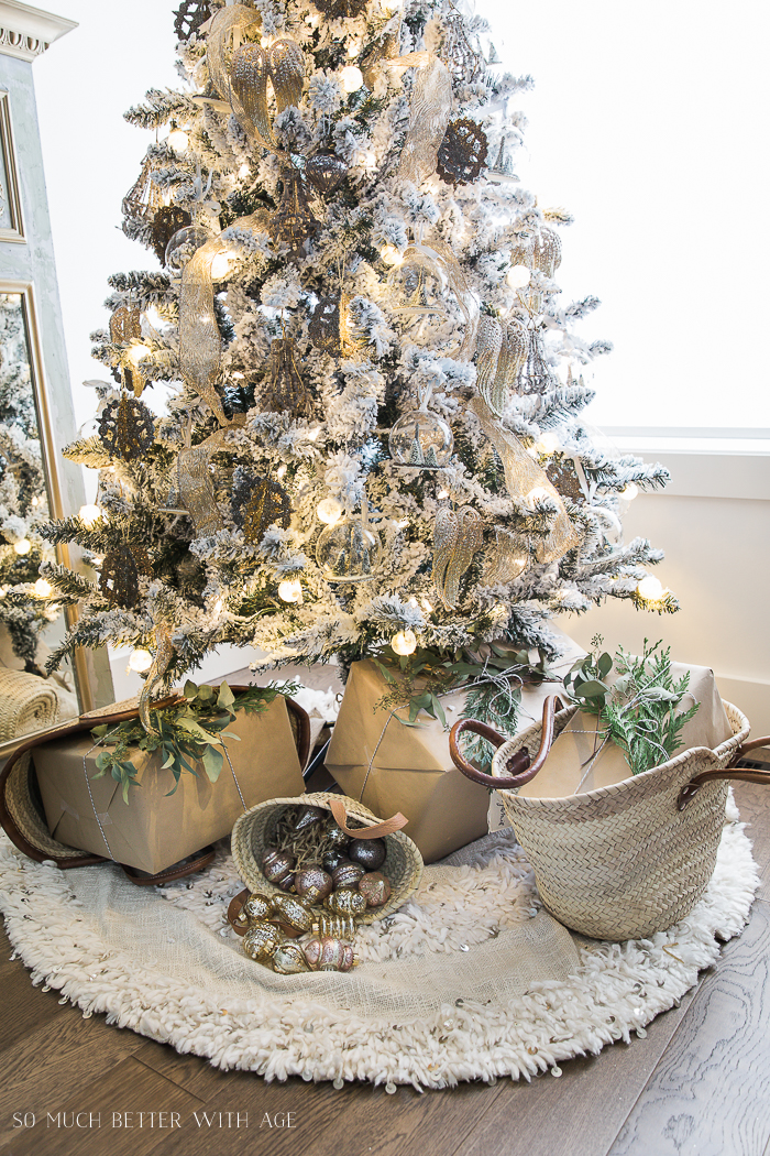 French Vintage Christmas Living Room and Mantel Tour/French gift baskets - So Much Better With Age