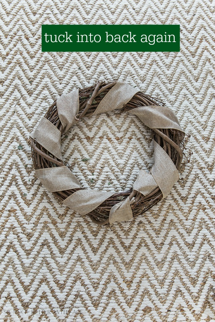 Easy and Beautiful Grapevine Wreath/tuck ribbon into wreath - So Much Better With Age