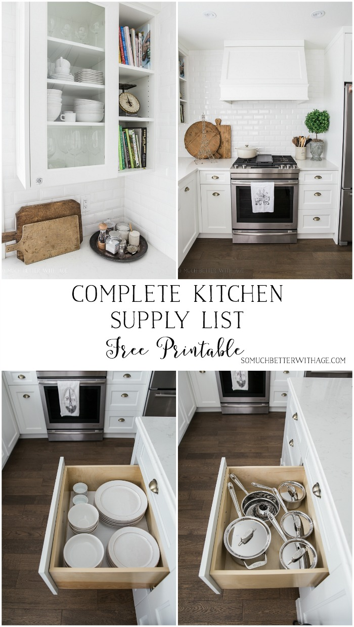 Complete Kitchen Supply List - Free Printable - So Much Better With Age