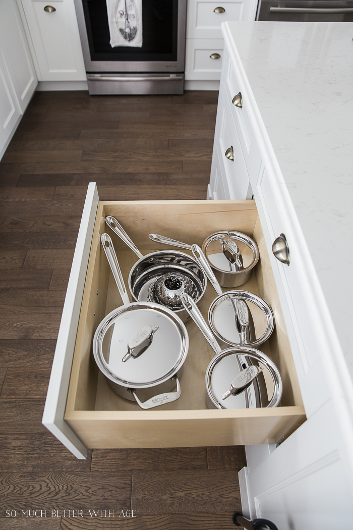 Complete Kitchen Supply List/All-Clad cookware set in drawer- So Much Better With Age