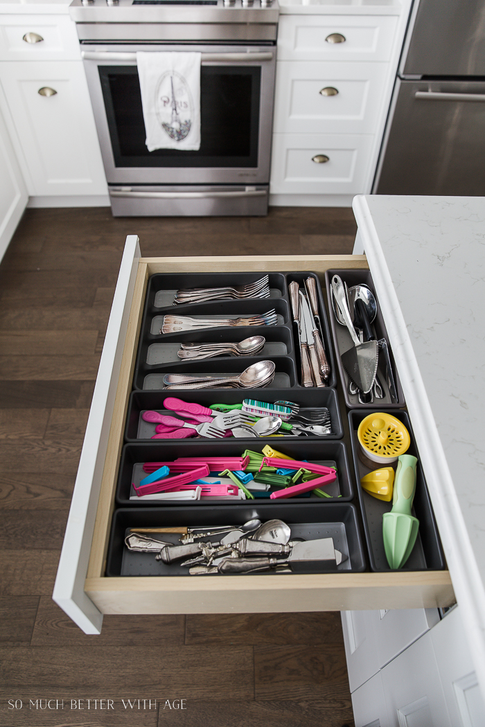 Complete Kitchen Supply List/flatware in organized kitchen drawer- So Much Better With Age