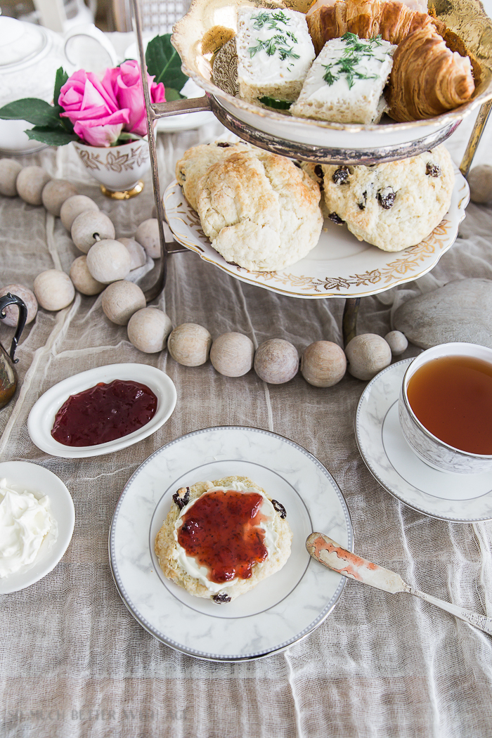 The Best Ever Empress Tea Scones/ scones with clotted cream and jam, tea - So Much Better With Age
