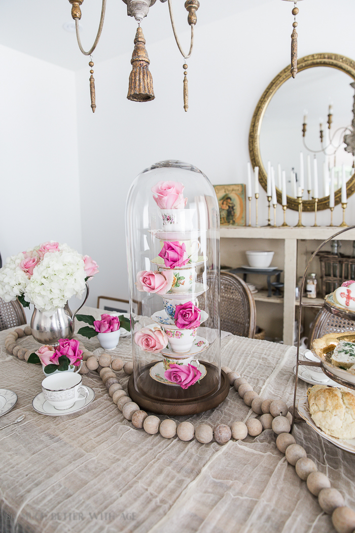 Valentine's Day High Tea Party/cloche with roses and teacups - So Much Better With Age