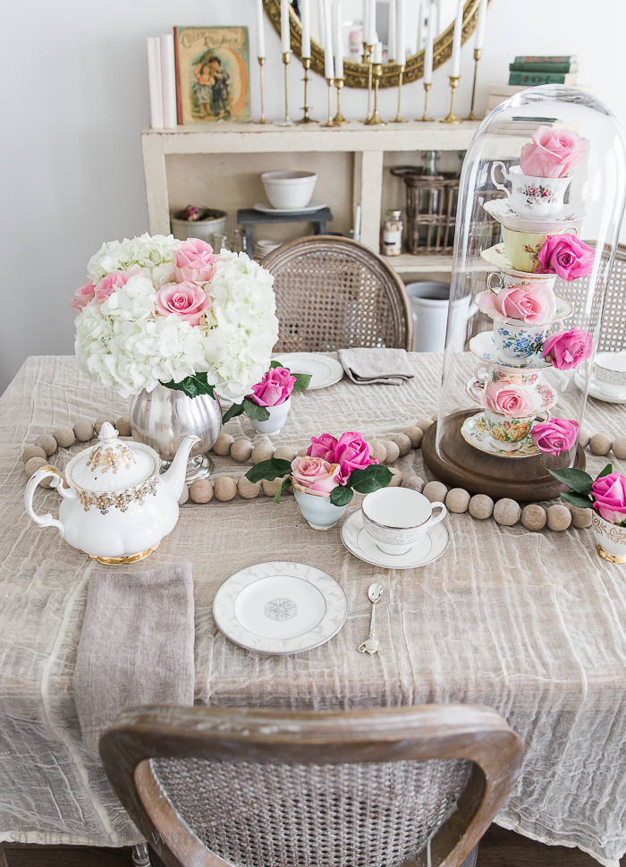 Valentine's Day High Tea Party/pink roses, white hydrangeas, teacups - So Much Better With Age