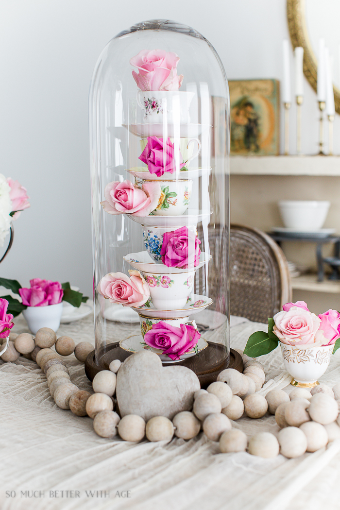 Valentine's Day High Tea Party/teacup and flower cloche centrepiece - So Much Better With Age