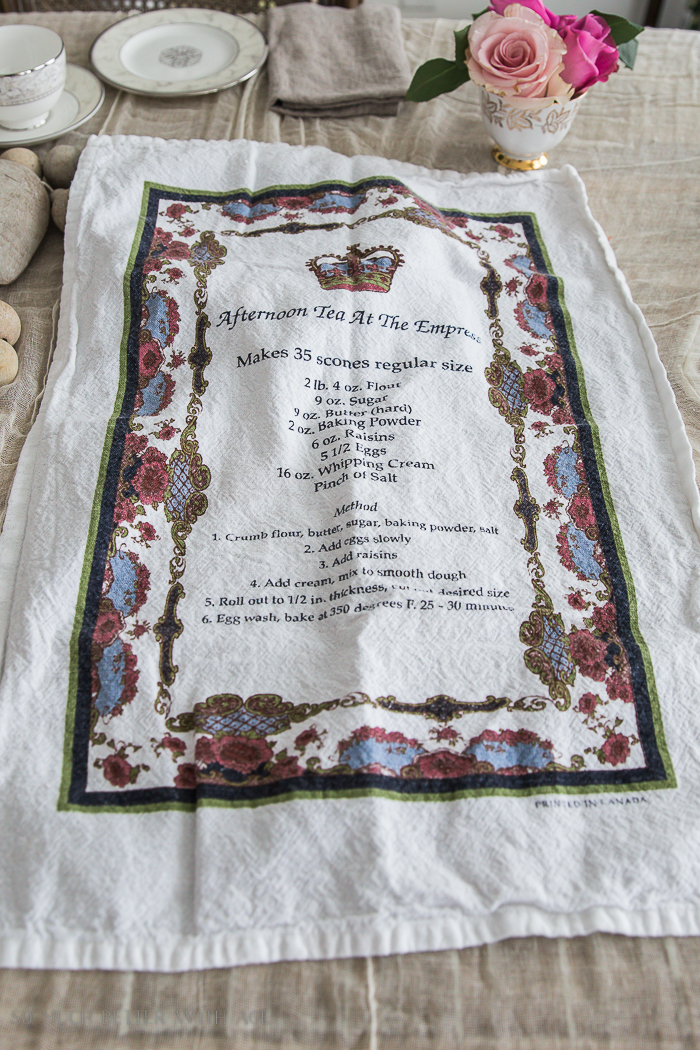 A tea towel from the Empress Hotel with the recipe on it.