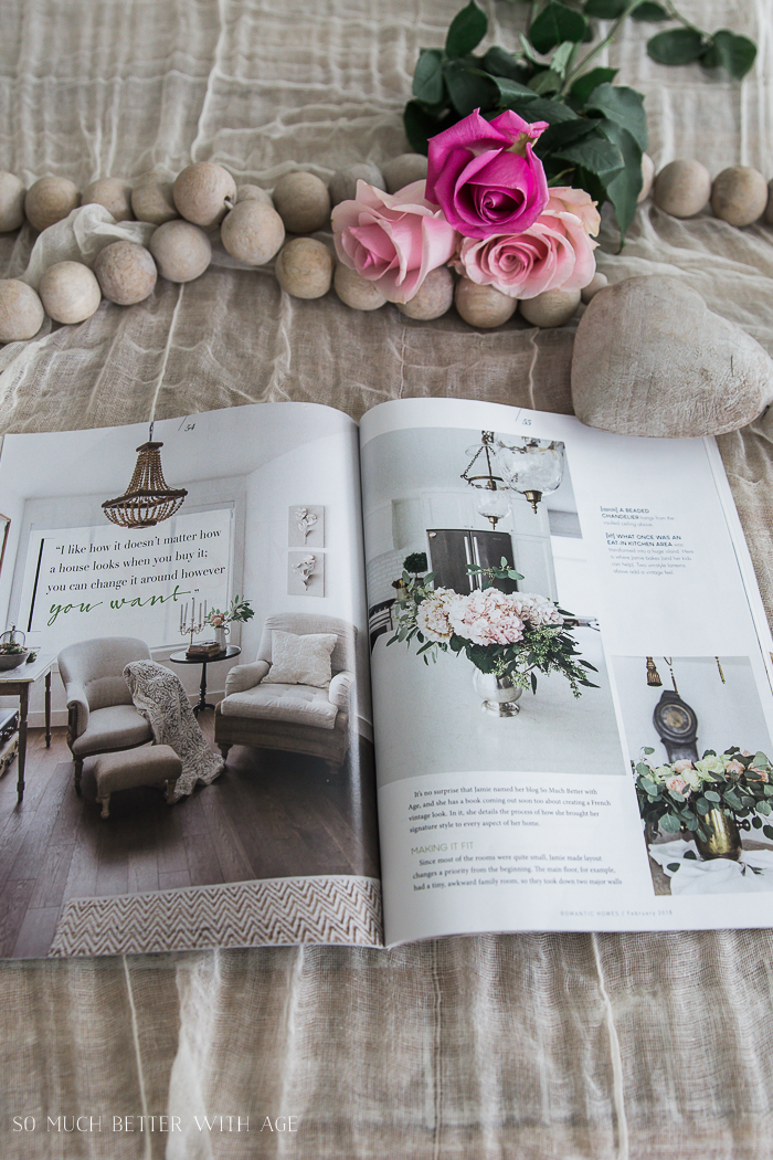 Romantic Homes Magazine/ prayer beads and roses - So Much Better With Age