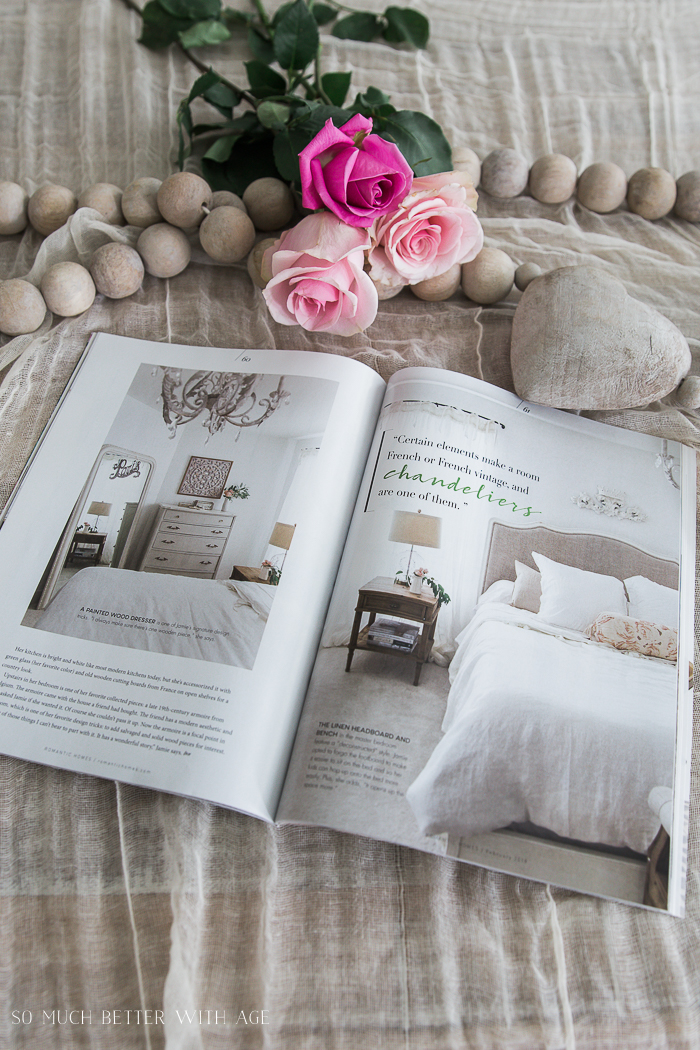 Romantic Homes Magazine/ French beautiful white bedroom - So Much Better With Age