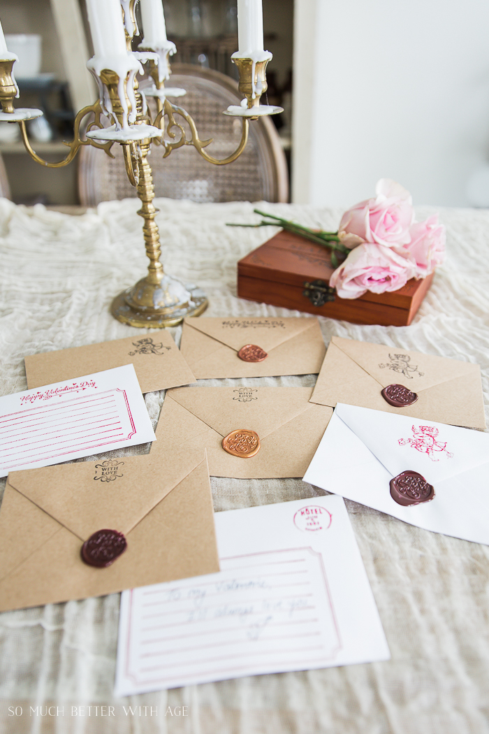 Valentine's Wax Seal Cards/wax seal envelopes, candelabra - So Much Better With Age
