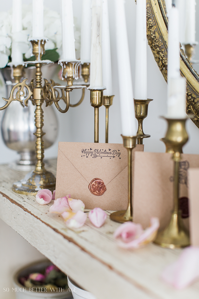 Valentine's Wax Seal Cards, brass candlesticks - So Much Better With Age