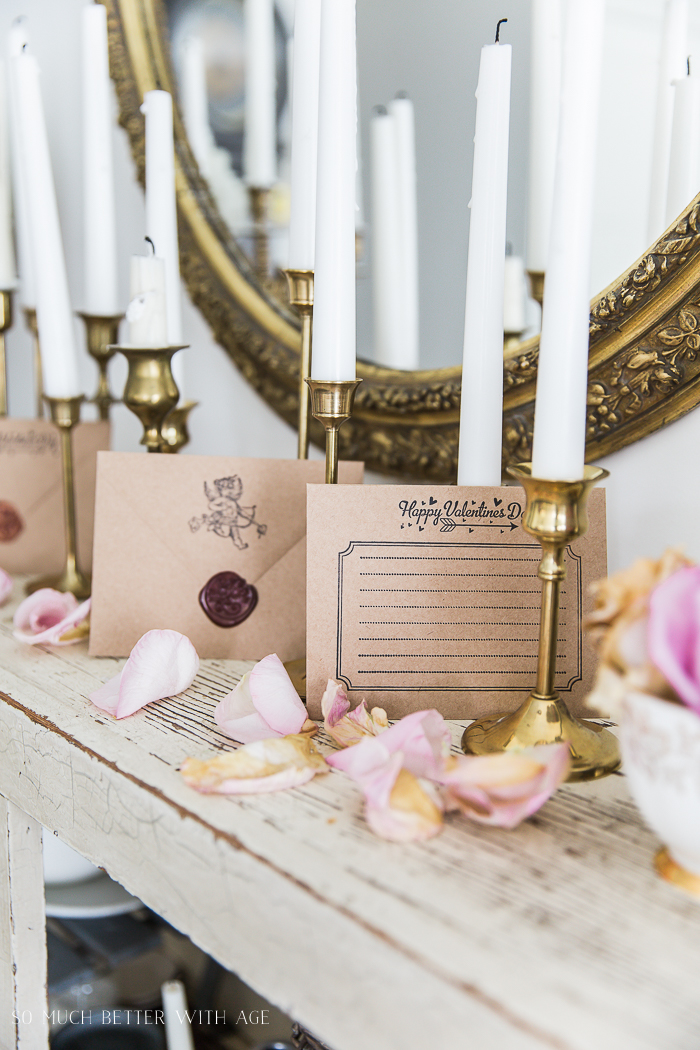 Valentine's Wax Seal Cards/candlesticks and rose petals - So Much Better With Age