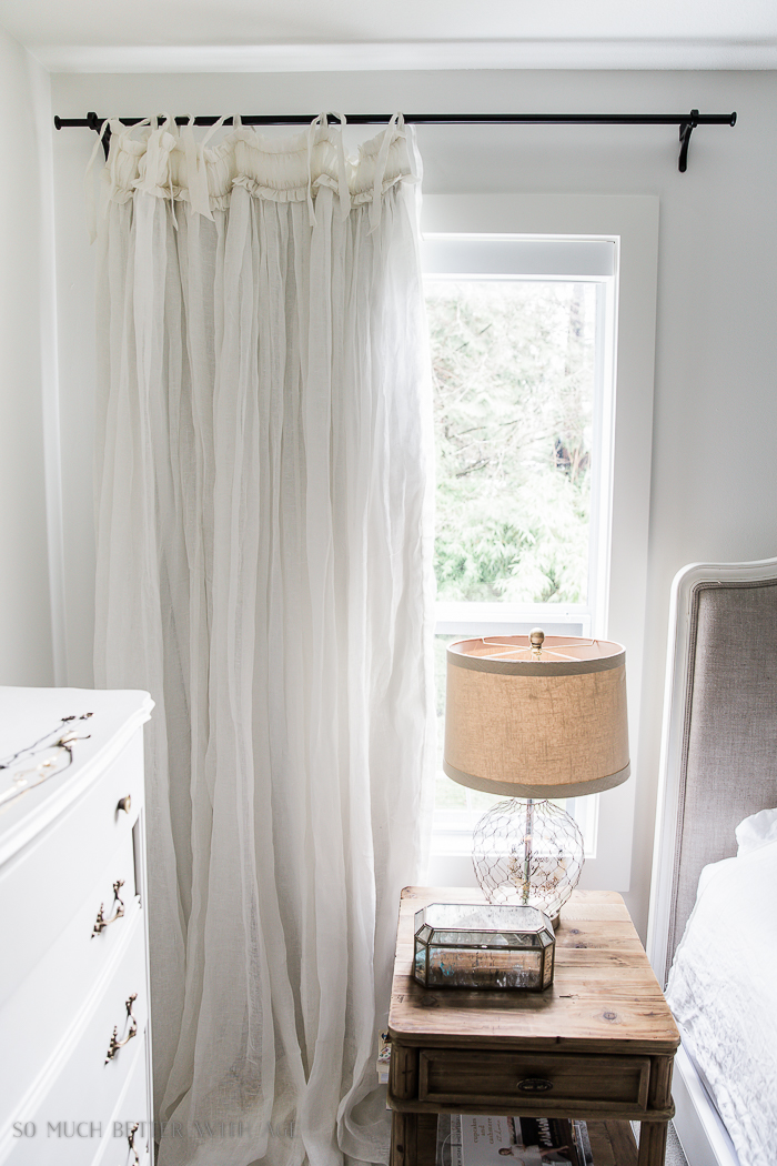 How to Sew Blackout Lining to Store Bought Curtains/ white linen curtains - So Much Better With Age